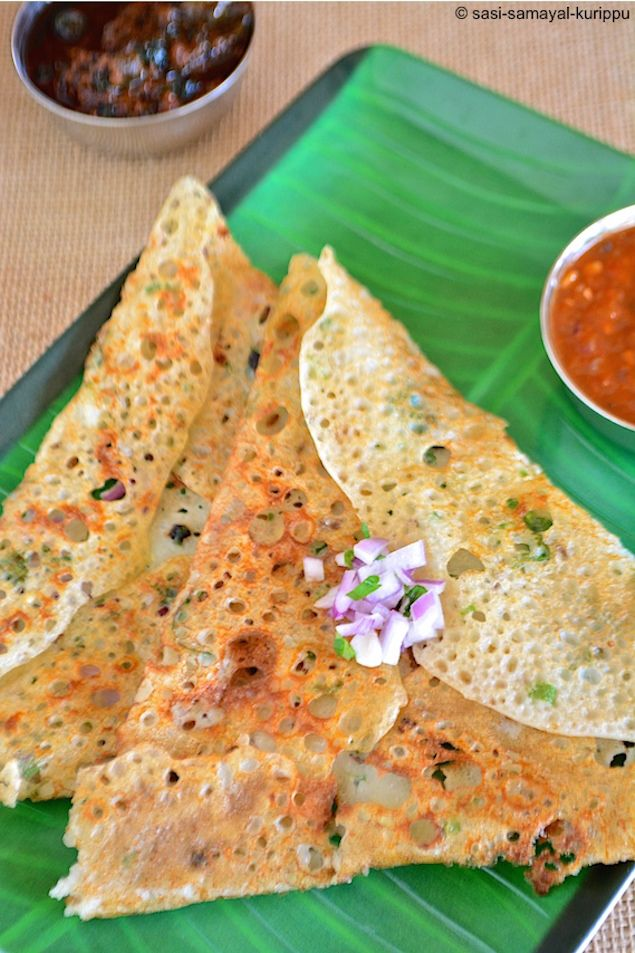 How to Make Crispy Indian Savory Crepes: Onion Rava Dosa