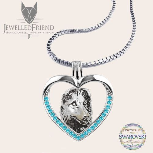 Collie jewelry pendant with Swarovski crystal-Sterling Silver-Personalized Pet Necklace-Dog lover gift-Custom Dog Necklace-Pet Memorial Gift by jewelledfriend. Explore more products on http://jewelledfriend.etsy.com