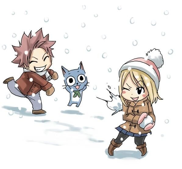 Chibi de Natsu,Happy et Lucy qui font une bataille de boule de neige.