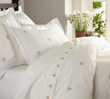 Bee Embroidered Duvet Cover & Sham - Honey