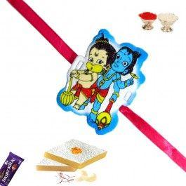 Send #Rakhi to #India Bal Hanuman and Bal #Krishna #Kids Rakhi from http://www.rakhistoreonline.com/buy-kids-rakhi/bal-hanuman-and-bal-krishna-kids-rakhi.html