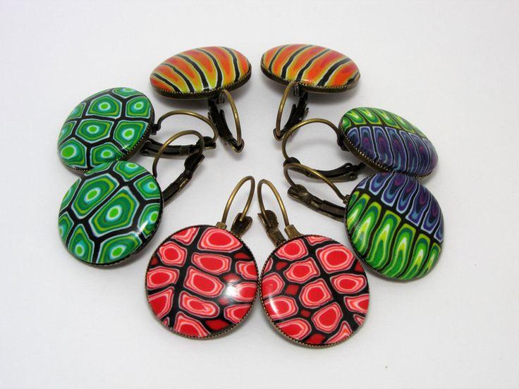 Ohrhänger - Art Polymer Clay Ohrringe  rot gelb grün oder lila - ein Designerstück von filigran-Design bei DaWanda