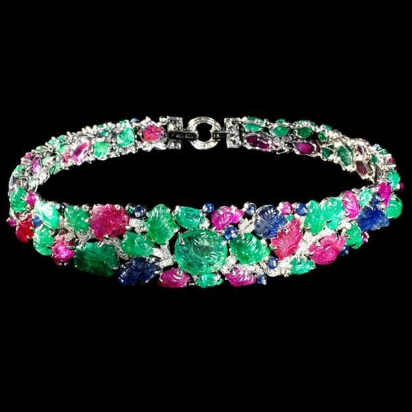 The Mountbatten Bandeau by Cartier, 1928. Rubies, sapphires, emeralds, diamonds and platinum.