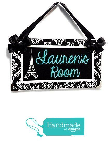 Personalized Eiffel Tower Paris themed teens room name door plaque, elegant black and white damask with green teal text from kasefazem http://smile.amazon.com/dp/B016IGK5RM/ref=hnd_sw_r_pi_dp_1kl6wb0NBBYAH #handmadeatamazon