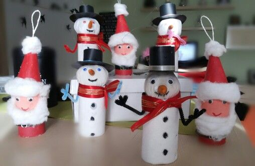 Diy Christmas ornaments Santa Claus and Snowmen with toilet paper rolls