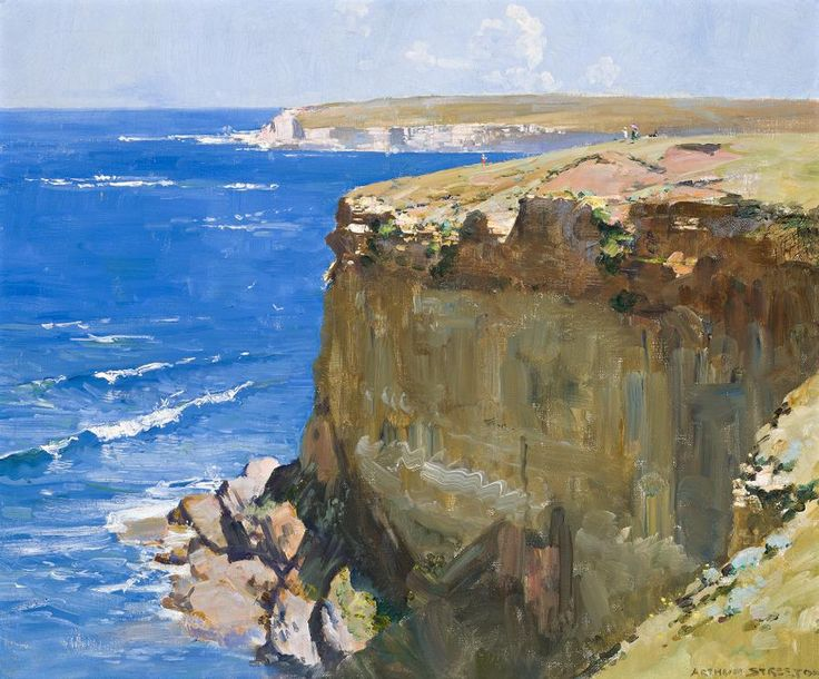 arthur ernest streeton (1867-1943) - cliff and ocean blue, 1932, oil on canvas.