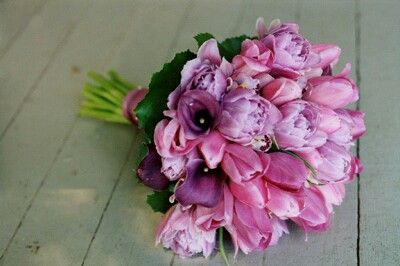 Pretty Hand Tied Wedding Bouquet Arranged With: Pink Tulips, Lavender Double Tulips, Purple Mini Calla Lilies + Greenery/Foliage