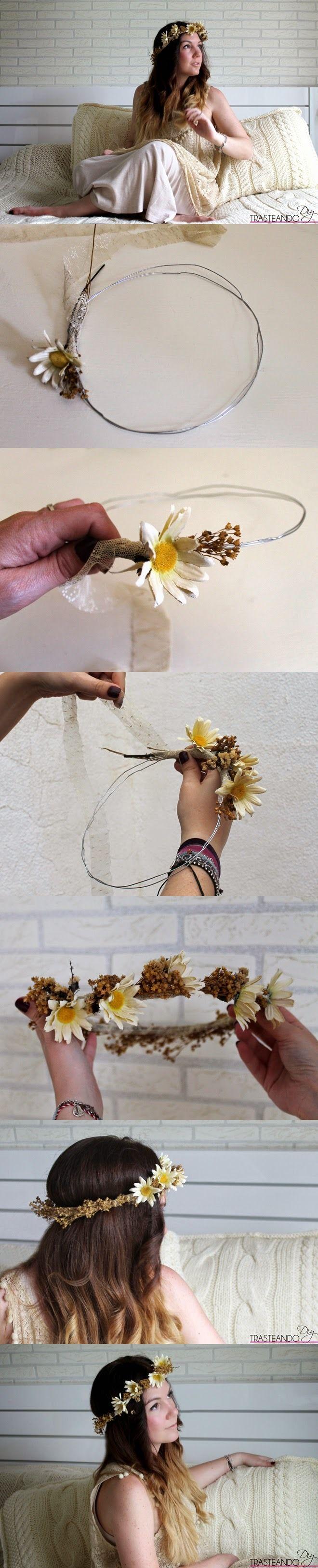 Hermosa corona de flores para el cabello - http://www.trasteandodiy.com/