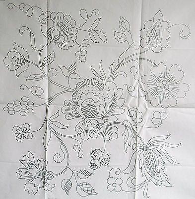 VINTAGE SILVER EMBROIDERY TRANSFER - LARGE JACOBEAN DESIGN, folk, floral, scrollwork,