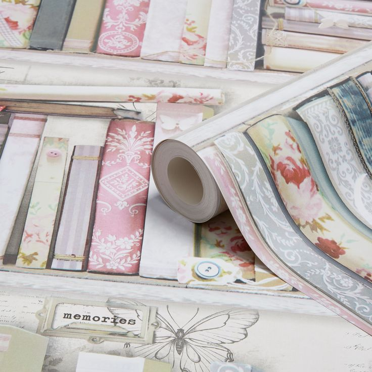 Graham & Brown Fresco Pink Collage Bookcase Wallpaper | Departments | DIY at B&Q
