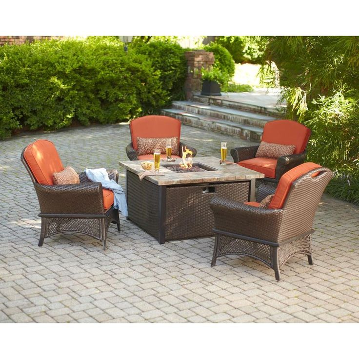 Great Bbq Pit Set Up For The Backyard Perfect Under The: Hampton Bay Rosemarket 5-Piece Patio Fire Pit Set