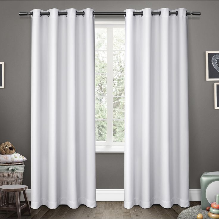 ati home sateen blackout kids grommet top window curtain panel pair sateen white 63