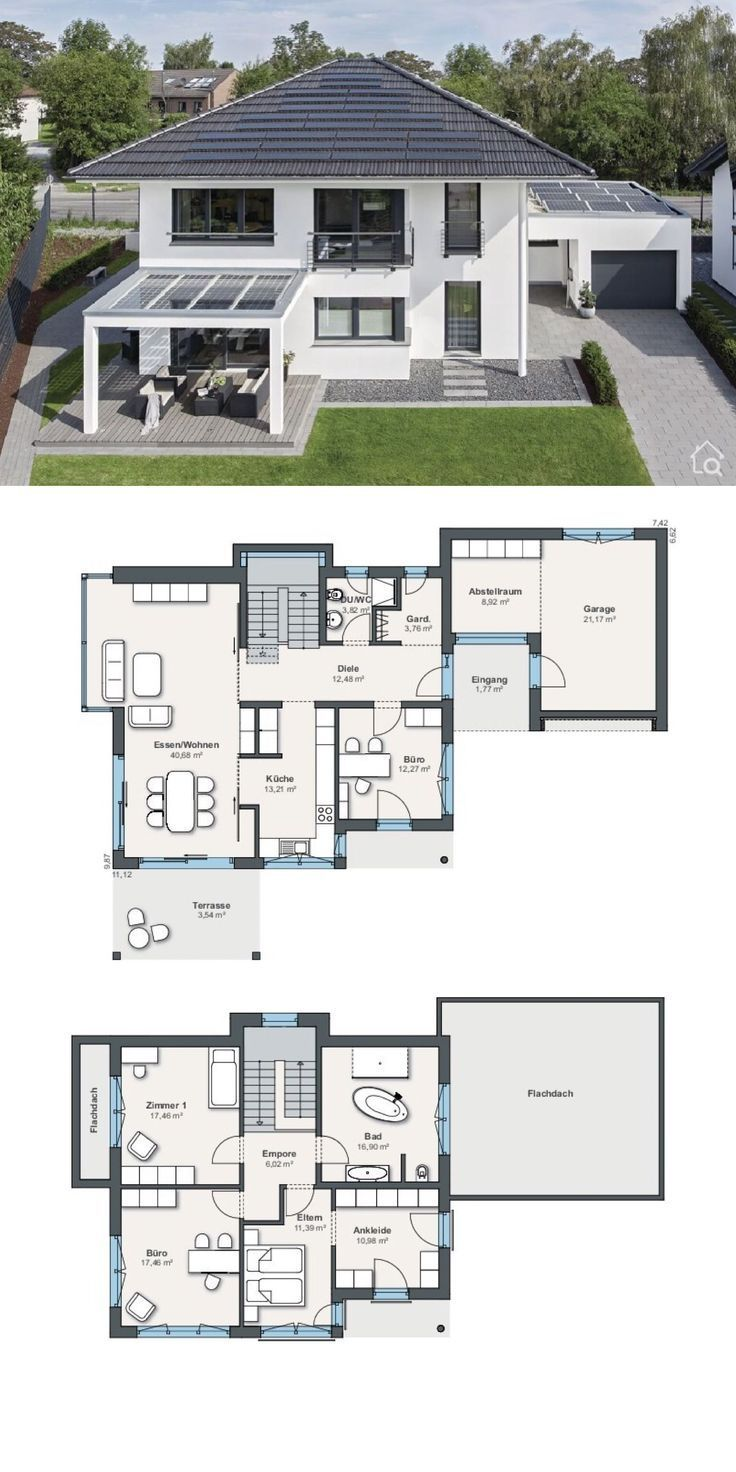 City Villa Floor Plan Modern With Garage Hipped Roof Architecture 5 Rooms 180 Sqm Archit S Prefabricated Houses Plans Modern Roof Architecture