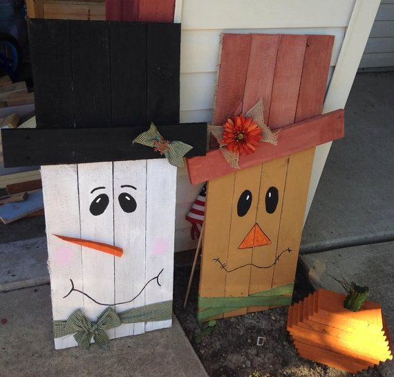 reclaimed wood palllet snowman or scarecrow
