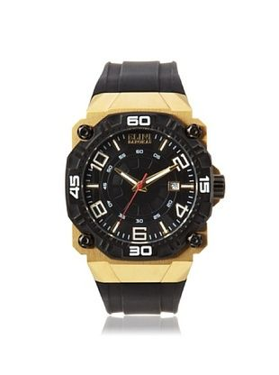 79% OFF Elini Barokas Men's 10318-YG-01-BB Comanche Black Rubber Watch