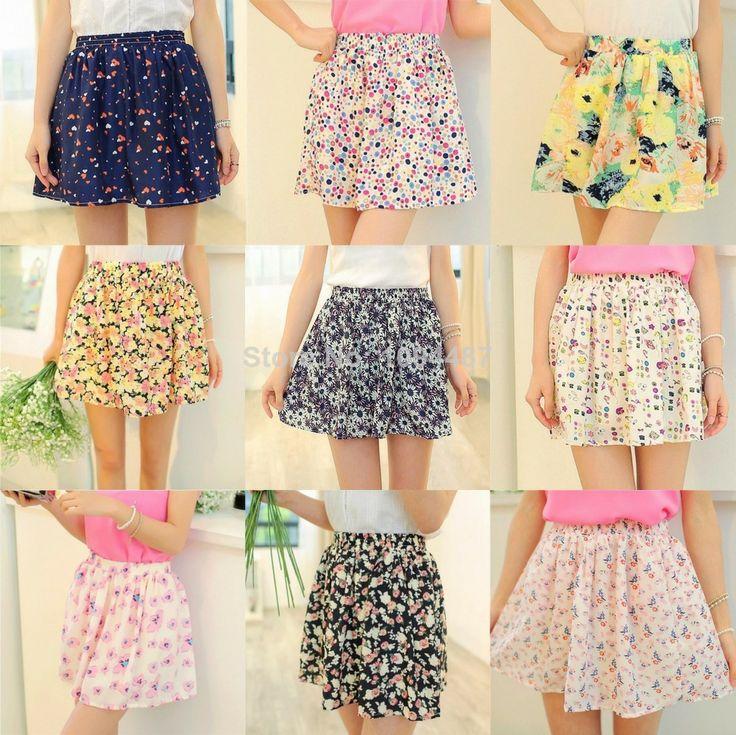 Summer 2014 new floral mini skirts chiffon black&red&blue free size cotton mid waist short tutu skirt women casual ZB004