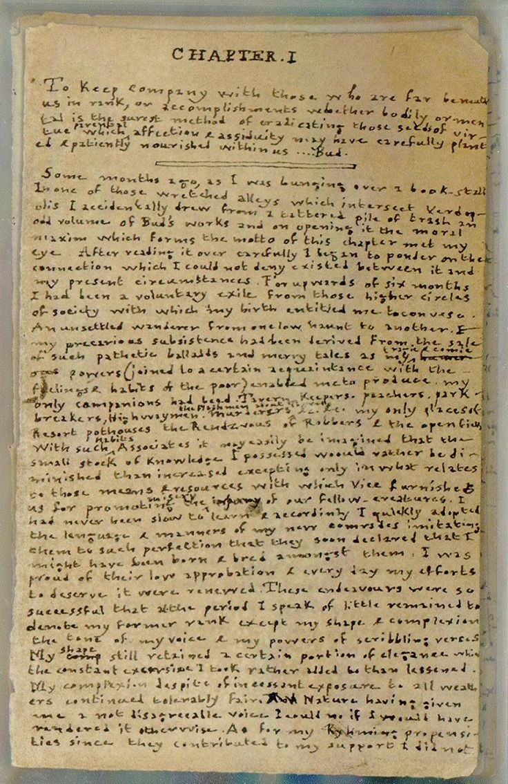 First page of Charlotte Brontë's manuscript for Something About Arthur. The sheets the manuscript is written on measure 5.7 cm by 9.3 cm. Image courtesy of Harry Ransom Center.