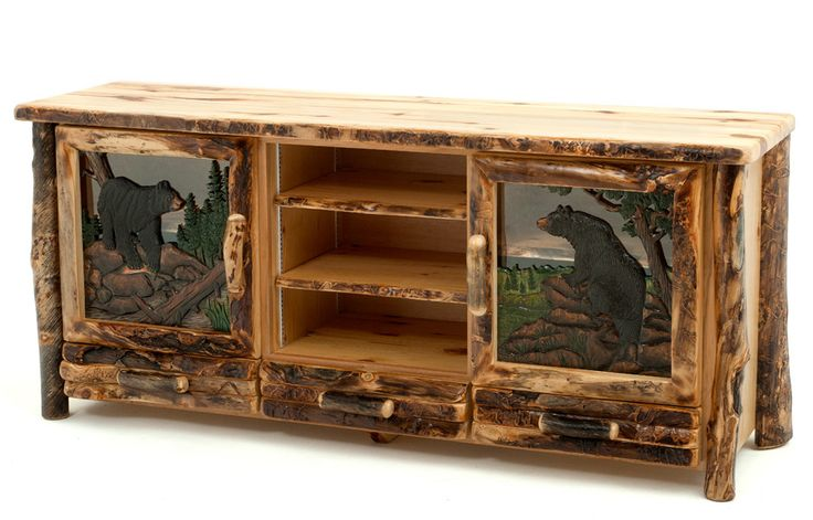 Log Furniture with Carved Doors  I would love to buy this for Sahara and Curtis for a wedding gift!!