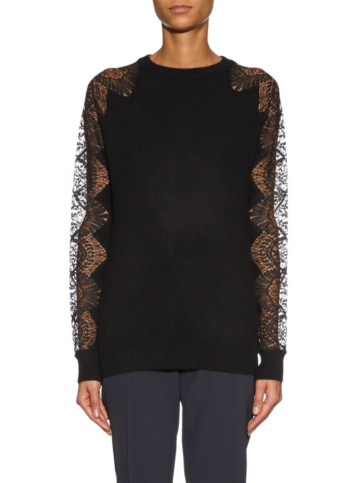 Click here to buy Raey Lace sleeves cashmere sweater at MATCHESFASHION.COM