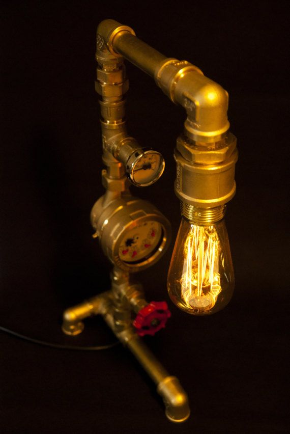 New Industrial Pipe Brass Steampunk Table Lamp 2