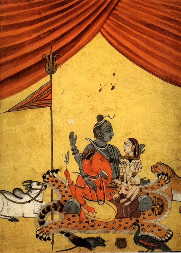 Shiva and Parvati, Sons, and family mounts. Mandi, c.1750. http://www.navinkumar.com/book/big/174.jpg
