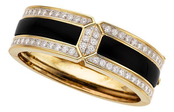 Diamond, Black Onyx, Gold Bracelet.