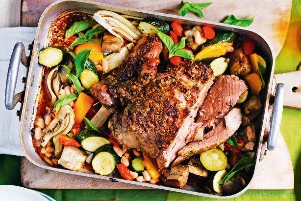 Try this Sicilian-inspired roast pesto lamb served with seasonal baked veggies.
