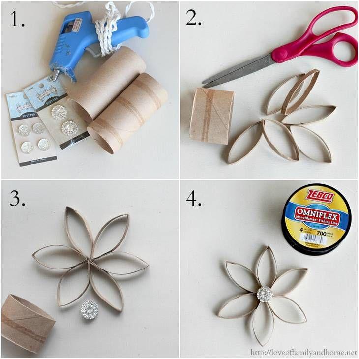 Fleur étoile en rouleaux de papier toilette   Décorations ...