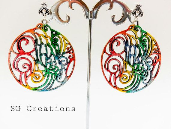 Earrings Rainbow Waves di SGCreationsAndArts su Etsy