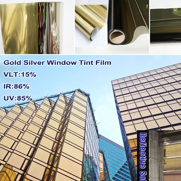 74.00$  Watch now - http://alin2y.worldwells.pw/go.php?t=32642381384 - 1.52mx5m/ 5ftx16.5ft Gold Silver Reflective One Way Mirror Window Film Mirrored Privacy Sticky Glass Tint VLT 15% 2PLY