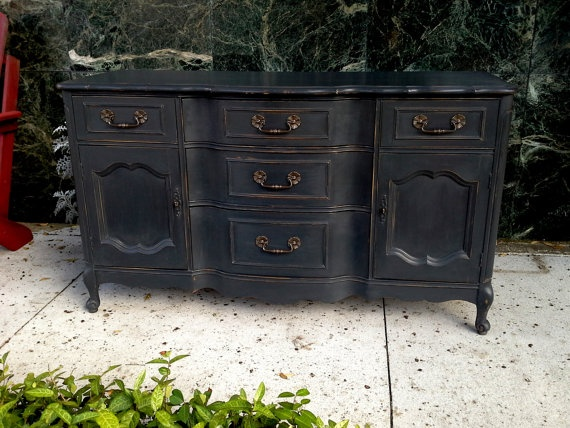 Wonderful Hand Painted Buffet Sideboard In Graphite Chalk By Furnitologist, $599.99