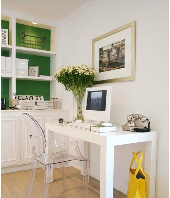 Love west elm parsons desk & lucite desk chair. Bookshelves with a pop of color....glass slipper instead of green.