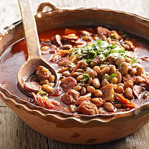 Spoon this spicy pork and bean blend over a pile of white or brown rice.