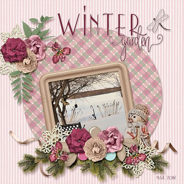 GeeGee's memory garden in winter.     Scrapbookcrazy Creations Feb mixology - Winter Garden is a soft color palette with pretty papers and elements that are perfect for all types of photos. This month even has a couple pages of planner stickers that match.