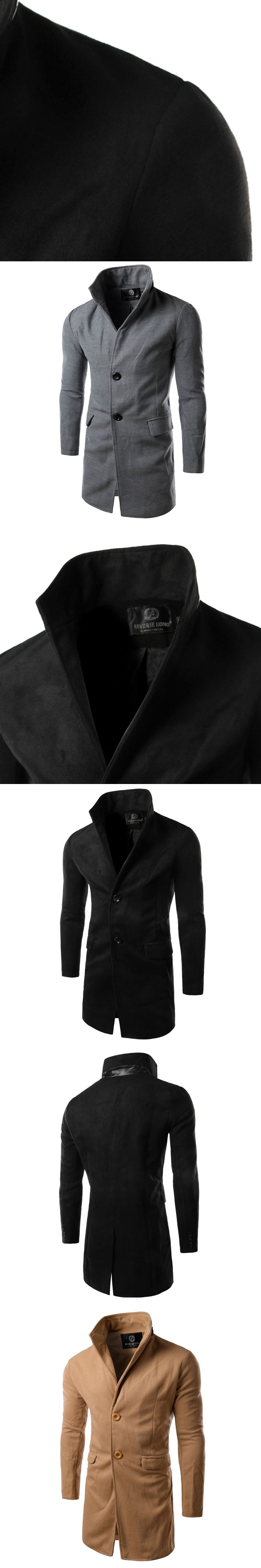 New Arrival 2017 Winter Mens Trench coat Turn-Down Collar Manteau Homme Long Trench Coat Men High Quality Mens Overcoat 14HZ02