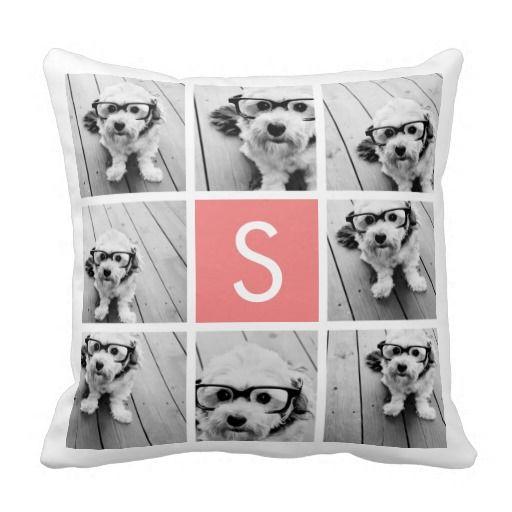 Create Your Own Instagram Collage Custom Monogram Pillow