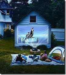 Outdoor drive in movie night - use your garage or side of house and project movie onto.  Have kids made their own cars to drive in out of cardboard boxes.  How fun!