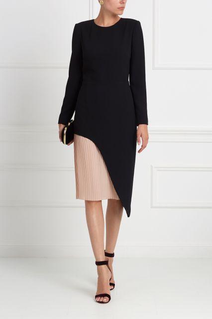 Шерстяное платье Daria Bardeeva - Закрытое черное платье с длинным рукавом из коллекции Daria Bardeeva в интернет-магазине модной дизайнерской и брендовой одежды