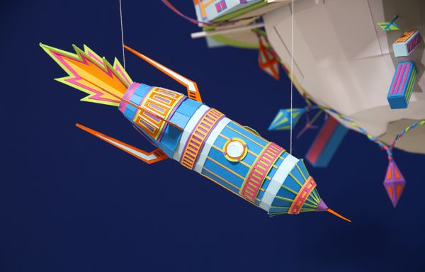 Zim&Zou - Happy Planet Detail of a Stop motion greeting card Tiphaine-illustration  #rocket #planet #paper #craftsmanship