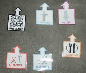 Etiquettes pour rituels : présents / absents / cantine / grands /Moyens / filles / garçons...