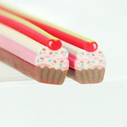 J-004 / 1 piece of cane / Cute Cupcake Fimo Polymer Clay Cane for Craft , Nail Art Kawaii , Fimo Cane For Nail Art Decoration