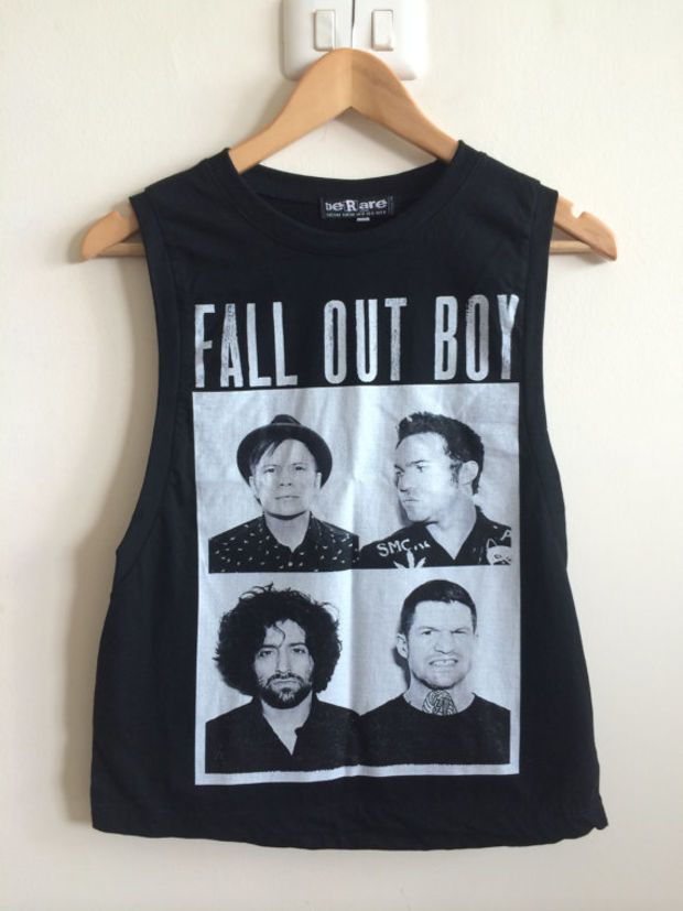 Fall Out Boy Ladies Vest Tank Top Boyfriend TShirt Crop Top Singlet Bring Me The Horizon All Time Low My Chemical Romance Panic At The Disco
