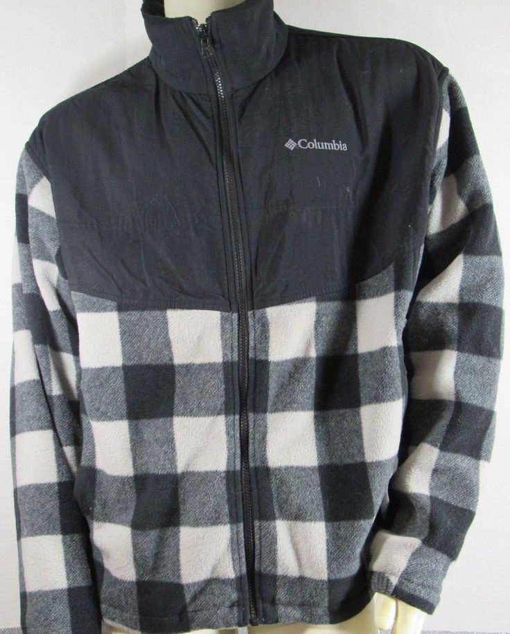 Columbia Fleece Jacket XL Interchange Black gray Charcoal Buffalo Plaid Pockets #Columbia #FleeceJacket