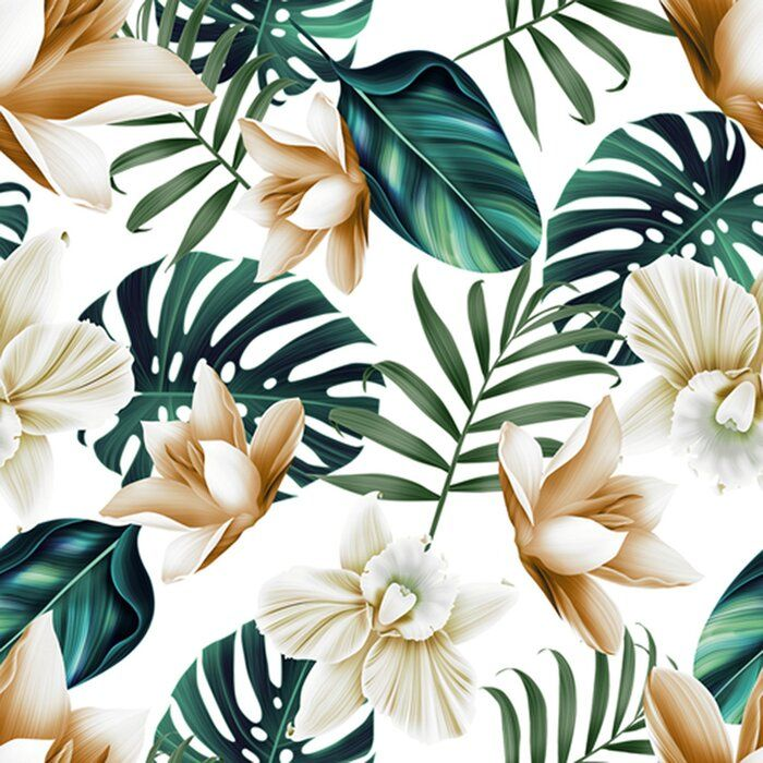 Val Tropical Flowers 10 L X 24 W Peel And Stick Wallpaper Roll Tropical Flowers Flower Wallpaper Plant Pattern