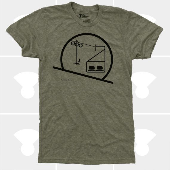 Mens Chairlift TShirt, Snowboarding, Skiing, Mens Shirt MEN TSHIRT DETAILS Eames Chairlift Mens T-Shirt! Made in USA; 100% Designed & Hand Printed by The Medium Control; Fits true to size; Minimal Shrinkage; We always print on the highest quality American Apparel Shirts; Brown Heather is a Tri-Blend T-shirt. Tri-Blend t-shirts contain: 50% Polyester / 25% Cotton / 25% Rayon. Olive Heather, Blue Heather & Red Heather are 50/50 blend shirts containing 50% Polyester /...