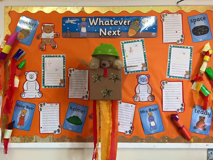 Awesome Whatever Next display! Love the bear in the box complete with colander helmet! Using lots of Twinkl resources.
