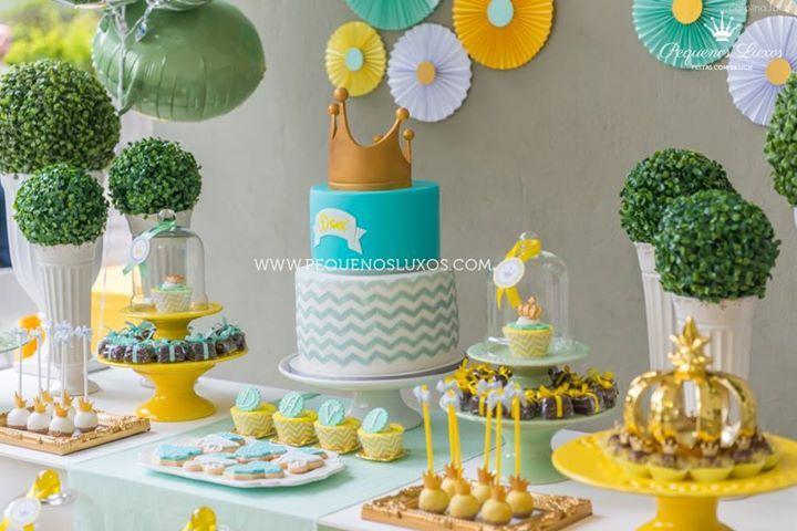 festa chevron amarelo cinza verde coroa menino party gray yellow chevron green boy crown cake pop cupcake Raka Minelli baby