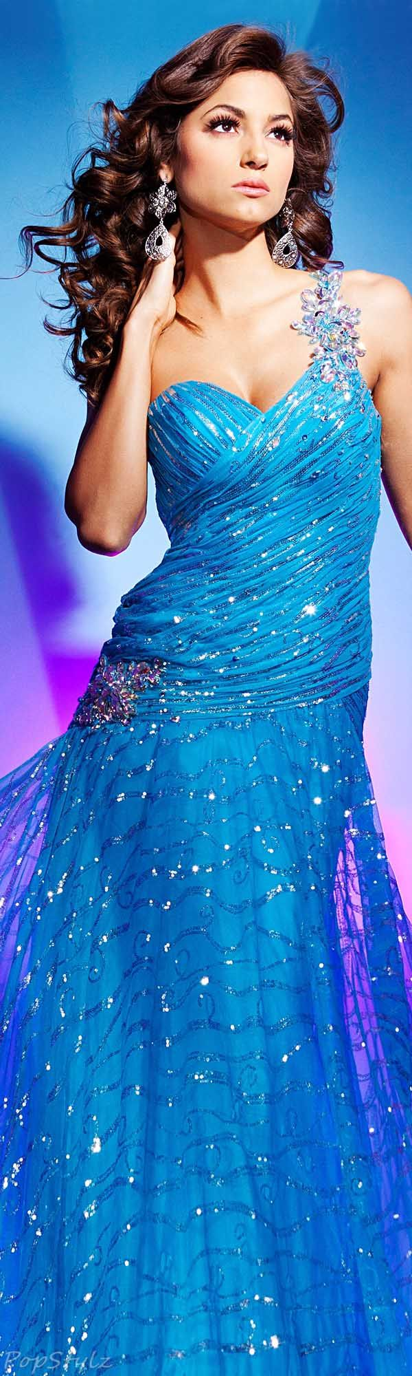 Tony Bowls Peacock Gown