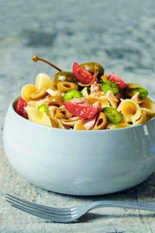 Papillons au piment, olives, thon et câpres - Larousse Cuisine