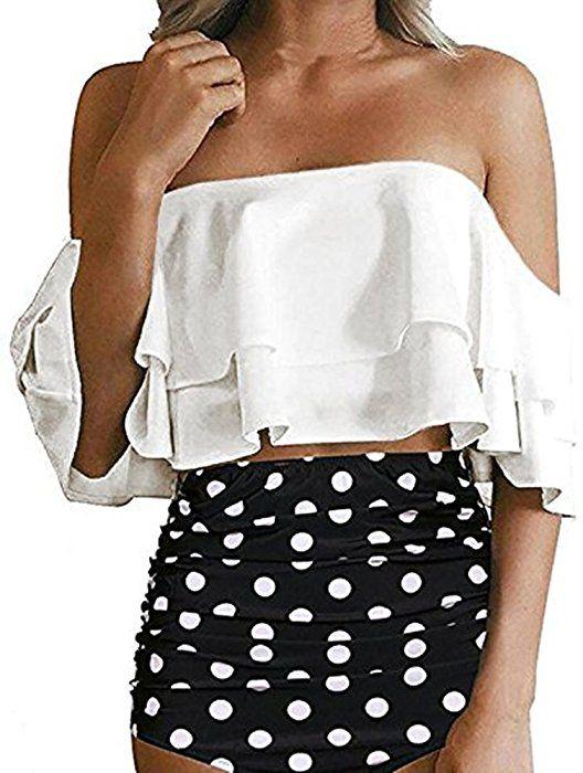 5eccb2f8918 Amazon.com: Womens Two Piece Off Shoulder Ruffled Flounce Swimsuits High  Waisted Bikini Sets: Clothing